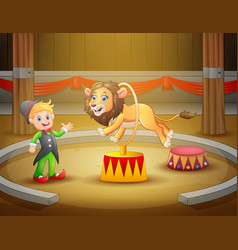 circus trainer performs a trick along with li vector image