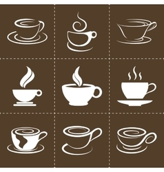 Coffee icons set also as emblem such a logo vector