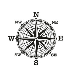 Compass wind rose vintage nautical vector