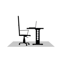 Computer desk black vector