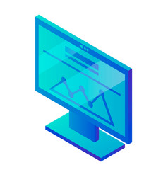 Computer monitor graph icon isometric style vector