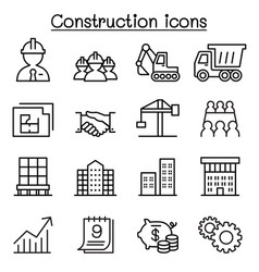 Construction icon set in thin line style vector