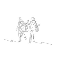 continuous one line happy family walking together vector image