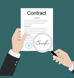 contract inspection concept hands holding vector image