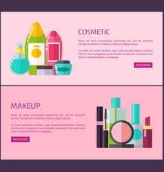 Cosmetic and makeup means internet promo pages vector