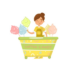 Cotton candy cart with female seller food kiosk vector