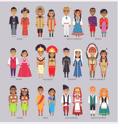 Couples in traditional clothes present countries vector