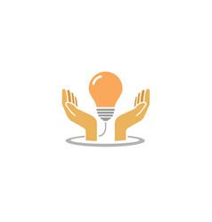 creative hands protect bulb lamp idea logo vector image