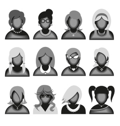 Creative modern icons avatars with woman persons vector