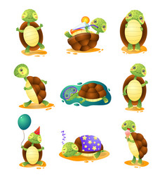 cute funny turtles in different poses set isolated vector image
