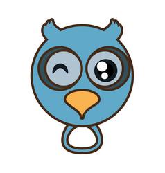 cute owl face kawaii style vector image