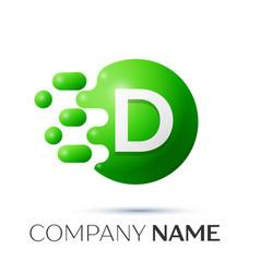 D letter splash logo green dots and circle bubble vector