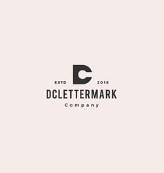 dc cd letter logo hipster retro vintage icon vector image