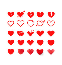 different style red hearts isolated on white vector image