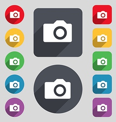 Digital photo camera icon sign A set of 12 colored vector image
