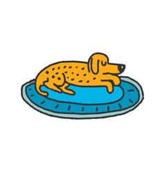 dog on rug sleeps isolated home pet dream vector image