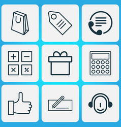 ecommerce icons set with contact info calculate vector image