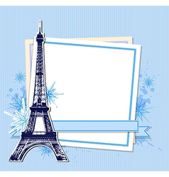 Eiffel Tower and white sheet of paper vector image