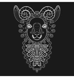 Entangle ram head white goat vector