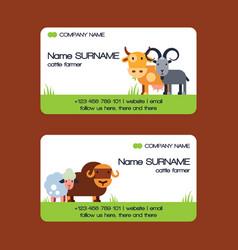 farm animals business-card set domestic vector image