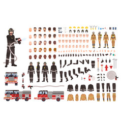 Firefighter creation set or constructor vector