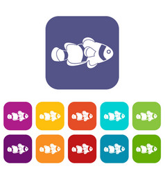 fish clown icons set flat vector image