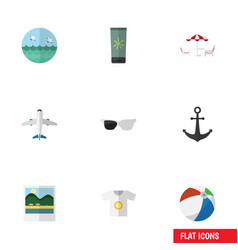 flat icon beach set of sphere moisturizer vector image