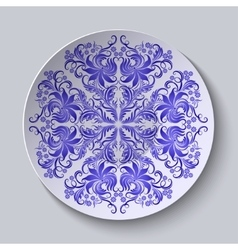 floral circular plate for design vector image