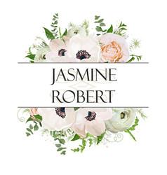 Floral design square card design soft light pink vector