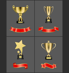 gold cups and glossy ribbons colorful banners set vector image