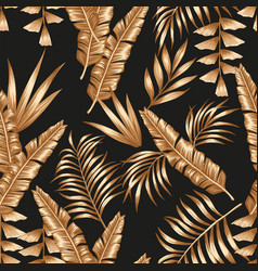 gold tropical leaves seamless black background vector image