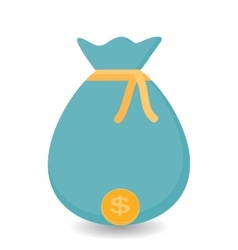 hand puts bag gold coins - contribution to vector image