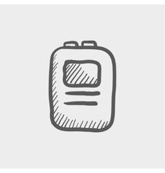 Heart defibrilliator sketch icon vector