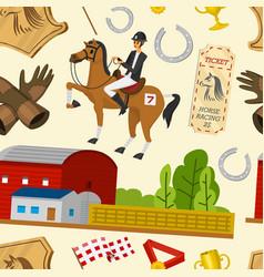 horse racing seamless pattern horseback riding vector image