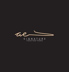 Initial letter ae logo - handwritten signature log vector