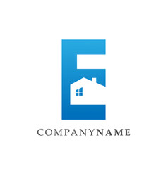 initial letter e realty logo in negative space vector image