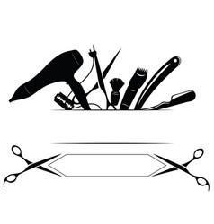 logo for hairdresser black and white logo for vector image