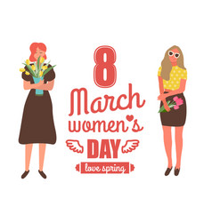 love spring 8 march international women holiday vector image