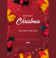 marry christmas and happy new year poster on red vector image