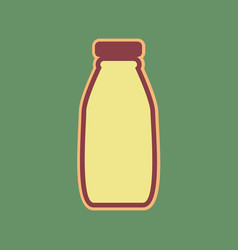 Milk bottle sign cordovan icon and mellow vector