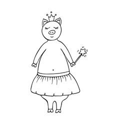 Monochrome hand-drawn pig fairy in a crown vector