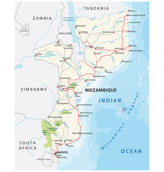 mozambique road and national park map vector image