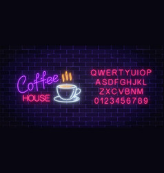 neon coffee house signboard with alphabet on a vector image