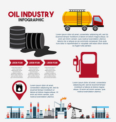 oil industry infographic barrel fuel gas station vector image