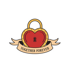 old school tattoo emblem label with heart lock vector image