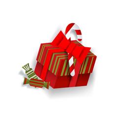 paper cut christmas present box decoration element vector image