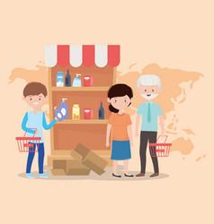 People buying supermarket shelf world crisis vector