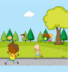 people doing activity at park vector image