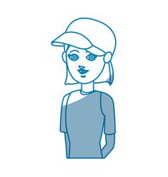portrait girl traveler vacation tourism design vector image