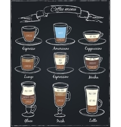 Poster of different coffee in vintage style vector